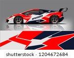 racing car wrap design. sedan... | Shutterstock .eps vector #1204672684