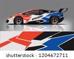 racing car wrap design. sedan... | Shutterstock .eps vector #1204672711