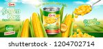 organic canned corn banner ads... | Shutterstock .eps vector #1204702714