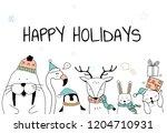 hand drawn enjoying a christmas ... | Shutterstock .eps vector #1204710931