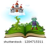 story book with magic beanstalk ... | Shutterstock .eps vector #1204715311