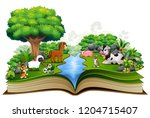 open book with animal farm... | Shutterstock .eps vector #1204715407