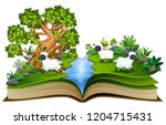 open book with group of sheep... | Shutterstock .eps vector #1204715431