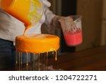 mousse yogurt cake. the girl... | Shutterstock . vector #1204722271