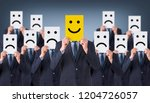 smile face drawing on cardboard | Shutterstock . vector #1204726057