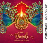 happy diwali festival card with ... | Shutterstock .eps vector #1204730134