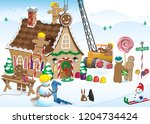 gingerbread house construction  | Shutterstock .eps vector #1204734424