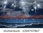 a cyclone and thunderstorm... | Shutterstock .eps vector #1204747867