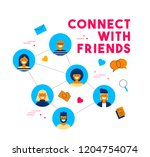 connect with friends concept... | Shutterstock . vector #1204754074