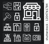 set of 13 open outline icons...   Shutterstock .eps vector #1204761784
