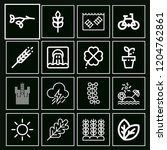 set of 16 nature outline icons...   Shutterstock .eps vector #1204762861