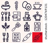 set of 16 kitchen outline icons ... | Shutterstock .eps vector #1204769131