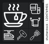 set of 6 kitchen outline icons...   Shutterstock .eps vector #1204769401