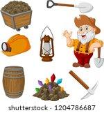 cartoon miner tools collection... | Shutterstock .eps vector #1204786687