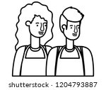 couple with apron avatar... | Shutterstock .eps vector #1204793887