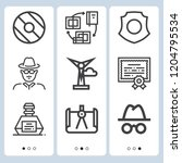 simple set of  9 outline icons... | Shutterstock .eps vector #1204795534