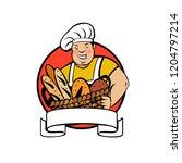 a cute smiling baker holds a... | Shutterstock .eps vector #1204797214