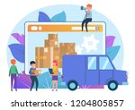 online delivery service. small... | Shutterstock .eps vector #1204805857