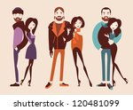 fashion people. man and woman couples isolated on light background vector eps 10 - stock vector