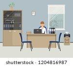 web banner of an office worker. ... | Shutterstock . vector #1204816987