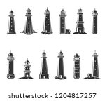lighthouse set. vector | Shutterstock .eps vector #1204817257