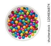 vector bowl with mm candies... | Shutterstock .eps vector #1204836874