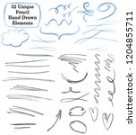 set of 32 unique pencil drawing ... | Shutterstock . vector #1204855711