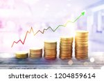 money coin stack growing... | Shutterstock . vector #1204859614