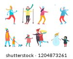 winter activity people seasonal ... | Shutterstock .eps vector #1204873261