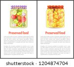 preserved food info posters ... | Shutterstock .eps vector #1204874704