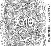 2019 hand drawn doodles contour ... | Shutterstock .eps vector #1204879627