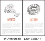 fast food chips and sweet donut ...   Shutterstock .eps vector #1204880644