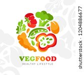 healthy food logo. round emblem ... | Shutterstock .eps vector #1204886677