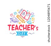 teacher's day colorful...   Shutterstock . vector #1204895671