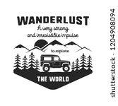 wanderlust logo emblem. vintage ... | Shutterstock .eps vector #1204908094
