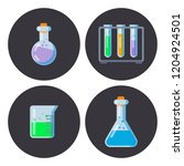 set of flask with potion icons. ... | Shutterstock .eps vector #1204924501