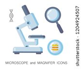 microscope and madnifer icons.... | Shutterstock .eps vector #1204924507