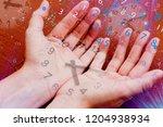 figures fly from hands ... | Shutterstock . vector #1204938934