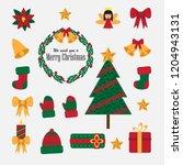 christmas set of flat vector...   Shutterstock .eps vector #1204943131