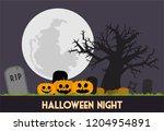 halloween night at the graveyard | Shutterstock .eps vector #1204954891