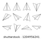Stock vector set of fold paper airplane inculde side and front view outline editable stroke 1204956241