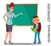 angry teacher at the blackboard ... | Shutterstock .eps vector #1204961404