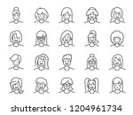 woman avatar line icon set.... | Shutterstock .eps vector #1204961734