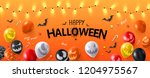 orange gradient happy halloween ... | Shutterstock .eps vector #1204975567
