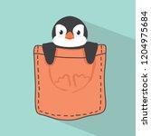 cute penguin in pocket | Shutterstock .eps vector #1204975684