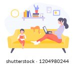 mom and son in the living room... | Shutterstock .eps vector #1204980244