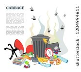 garbage can with waste. smelly... | Shutterstock .eps vector #1204994611