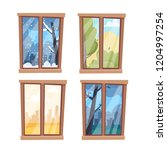 windows with seasons and... | Shutterstock .eps vector #1204997254