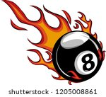 flaming billiards eight ball... | Shutterstock .eps vector #1205008861