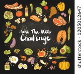 take the keto challenge  ... | Shutterstock .eps vector #1205012647